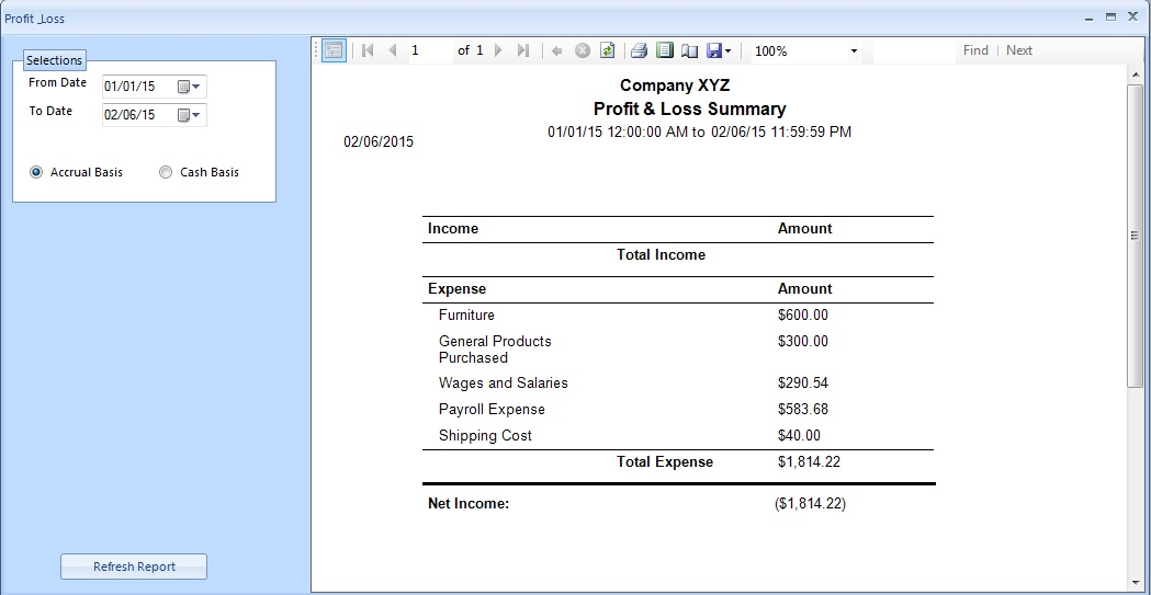 Profit Loss Summary Tax Bill And Payment Options